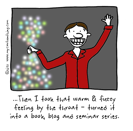 Warm and fuzzy feeling cartoon
